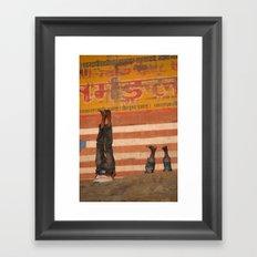 Doing Yoga on the Ghats Framed Art Print