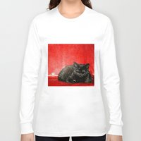 sofa Long Sleeve T-shirts featuring cat on red sofa by ANArt