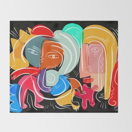 Love your family expressionist cubist street art Throw Blanket