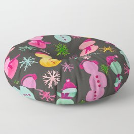 Colorful Snowpeople on Black Floor Pillow