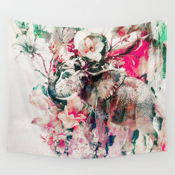 Watercolor Elephant and Flowers Wall Tapestry