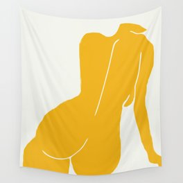 Nude in yellow Wall Tapestry