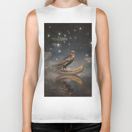 Crow in a boat at the river magical night Biker Tank
