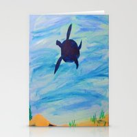 sea turtle Stationery Cards featuring Turtle by Lissasdesigns