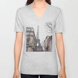 Paris streets, Eiffel tower, city skyline, industrial fine art photo, shabby chic Unisex V-Neck
