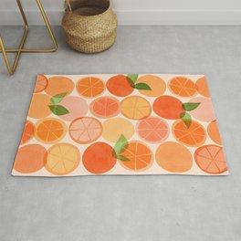 Sunny Oranges / Tropical Fruit Illustration Rug