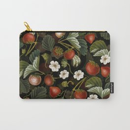 Vintage & Shabby Chic - Tropical Midnight Strawberries Botanical Flower Garden Carry-All Pouch