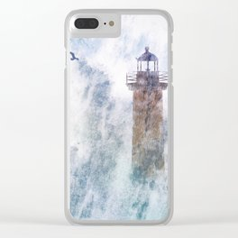 Storm in the lighthouse Clear iPhone Case