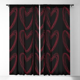 Red Hearts Blackout Curtain