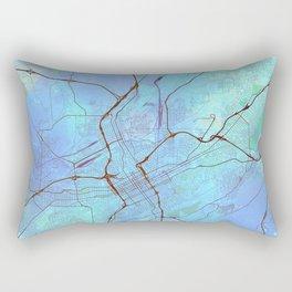 Birmingham Alabama Street Map Art Watercolor Ocean Blue Rectangular Pillow