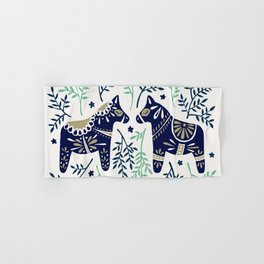 Swedish Dala Horse – Navy & Mint Palette Hand & Bath Towel