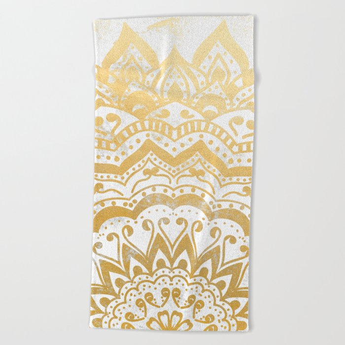 GOLD ORION JEWEL MANDALA Beach Towel