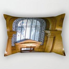 Menorah lit at the New York Public Library, New York City, New York Rectangular Pillow