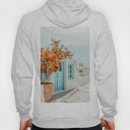 Greece Airbnb, Greece Photography Travel Digital Art, Scenic Landscape Architecture, White Building Hoody