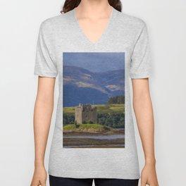 Castle Stalker Argyll, Scotland Unisex V-Neck