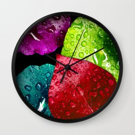 Colorful Leaves & Water Drops Abstract Wall Clock
