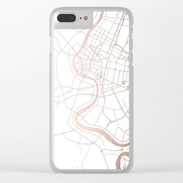 Bangkok Thailand Minimal Street Map - Rose Gold Pink and White Clear iPhone Case