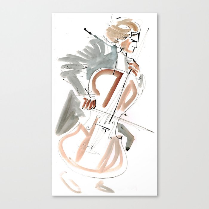 Cello Player Musician Expressive Drawing Canvas Print