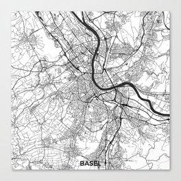 Basel Map Gray Canvas Print