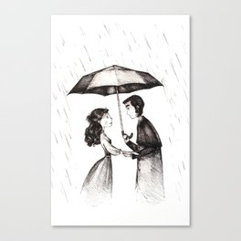 lovers under the rain Canvas Print