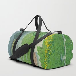 Kawase Hasui Vintage Japanese Woodblock Print Flooded Asian Rice Field Mountain Parallax Landscape Duffle Bag