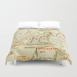Vintage Map of Thebes Egypt (1894) Duvet Cover