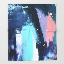 Playful [3]: a bold abstract piece in vibrant blues, pink, purple and white Throw Blanket