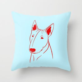 Bull Terrier (Light Blue and Red) Throw Pillow
