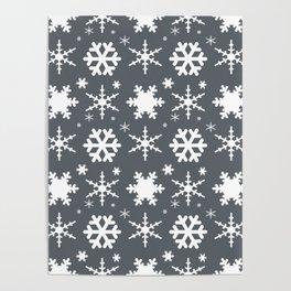 Snowflakes Gray Poster