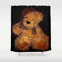 teddy bear Shower Curtains featuring Teddy by Doug McRae