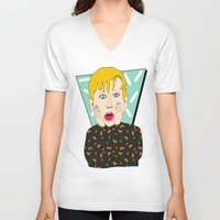home alone V-neck T-shirts featuring Home Alone by Elena Éper