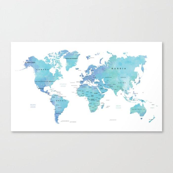 Watercolour World Map Canvas Print by byzuzula | Society6