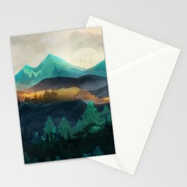 Green Wild Mountainside Stationery Cards