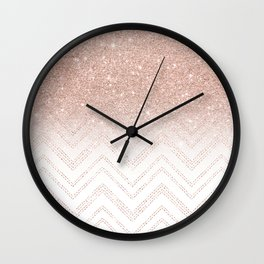 Modern faux rose gold glitter ombre modern chevron stitches pattern Wall Clock