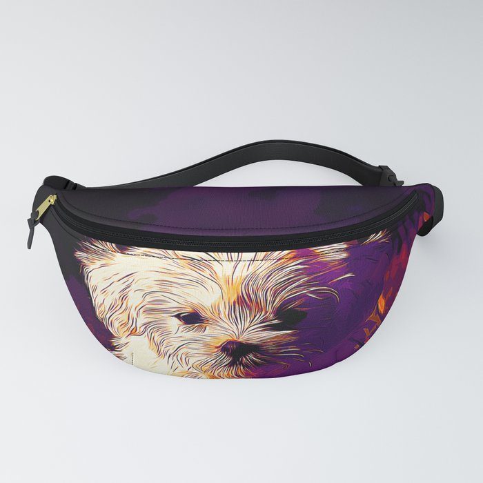 maltese dog vector art late sunset Fanny Pack