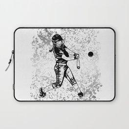 Girl Power- Women's Softball Silhouette on Silver Flake Laptop Sleeve