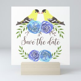 Save the date- Goldfinches and roses watercolor Mini Art Print