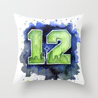 seahawks Throw Pillows featuring 12th Man Seahawks Seattle Go Hawks Art by Olechka