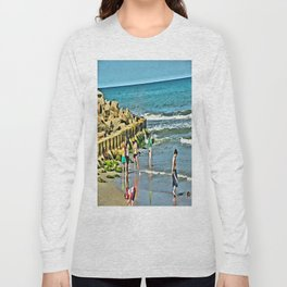 Day At the Beach - Photo rendered as painting Long Sleeve T-shirt
