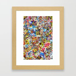 Cereal Boxes Collage Framed Art Print