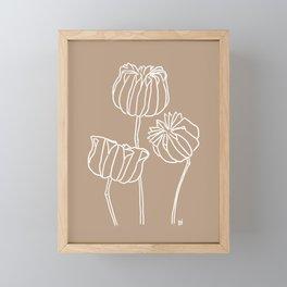 Seed Pods Botanical Print (White and Brown) Framed Mini Art Print