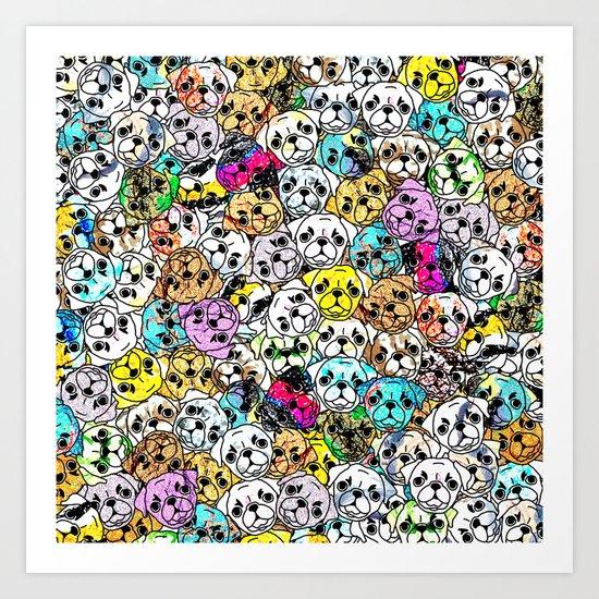 Gemstone Pugs Dogs Art Print