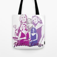 jessica lange Tote Bags featuring Jessica Lange - Emmys 2014 by BeeJL