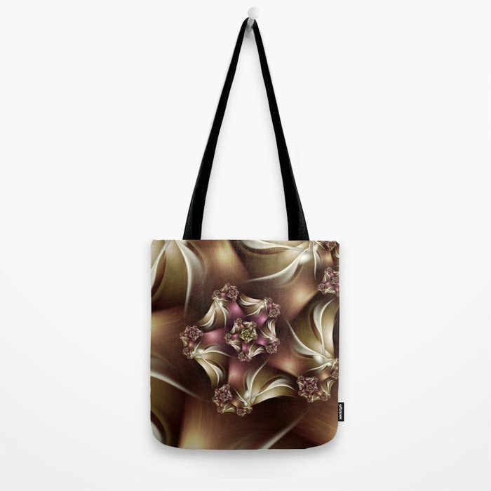 Abiding Fractal Spiral in Brown, White and Pink Tote Bag
