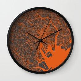 Tokyo Map #2 map orange Wall Clock