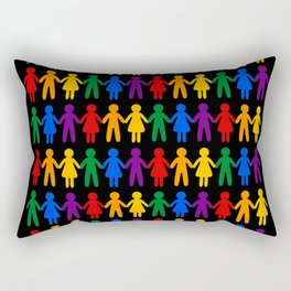 Rainbow People Pattern (black background) Rectangular Pillow