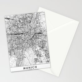 Munich White Map Stationery Cards