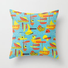 Abstract Boats inspired by midcentury 1950s design Throw Pillow