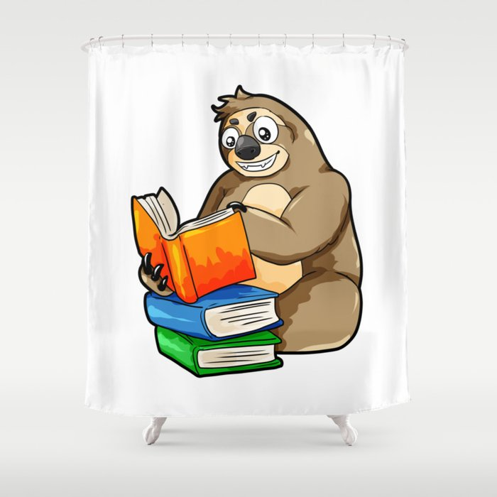 Reading Sloth Literacy Book Knowledge Exam Study Shower Curtain