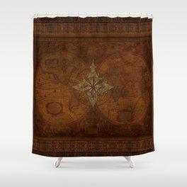 Antique Steampunk Compass Rose & Map Shower Curtain